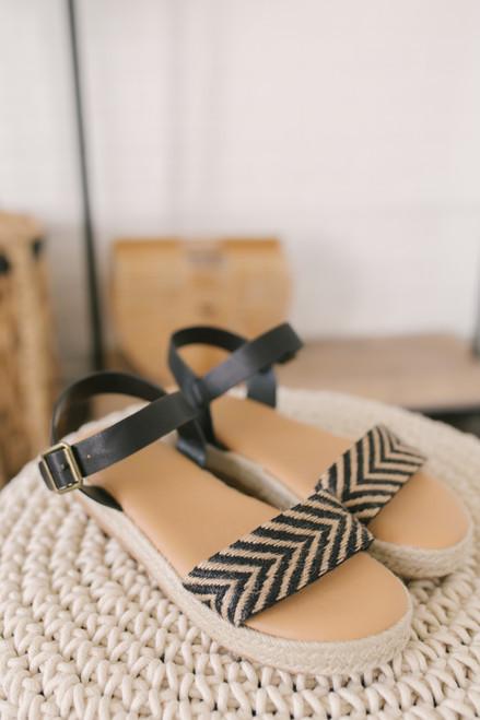 Palm Beach Chevron Espadrille Sandals - Black/Taupe