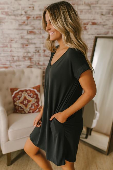 V-Neck Cuffed Sleeve T-Shirt Dress - Black