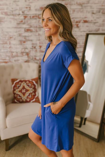 V-Neck Cuffed Sleeve T-Shirt Dress - Royal Blue