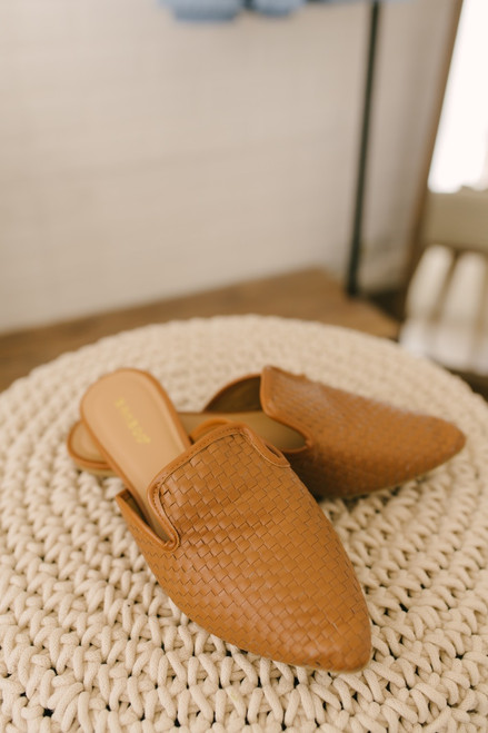 Oxford Square Woven Mules - Tan