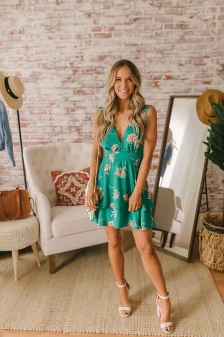 BB Dakota Garden Strolls Printed Dress - Pepper Green