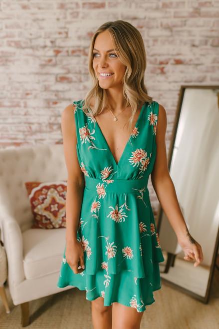 BB Dakota Garden Strolls Printed Dress - Pepper Green ada49c03d