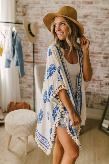 Venetian Square Printed Tassel Kimono - Ivory/Blue  - FINAL SALE
