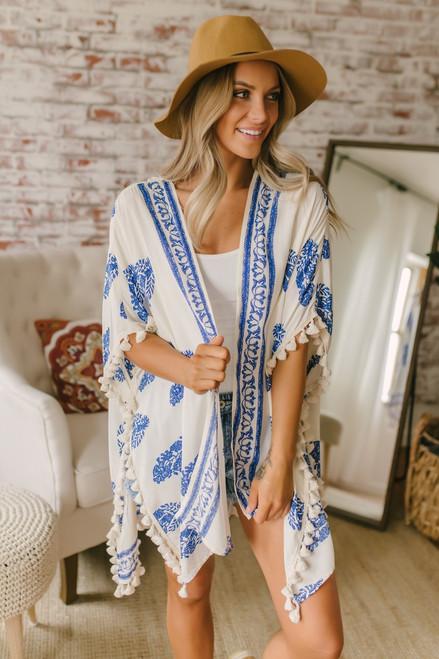 Venetian Square Printed Tassel Kimono - Ivory/Blue