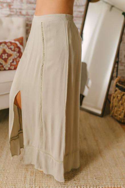 Ladder Detail Front Slit Maxi Skirt - Light Olive