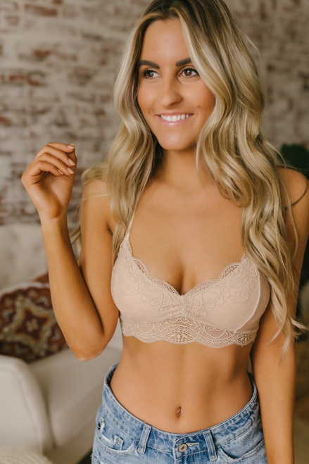 Scalloped Lace T-Back Bralette - Taupe