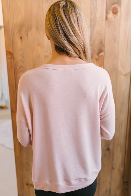 Donut Worry Embroidered Pullover - Pink