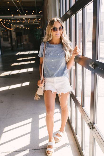 Dazzle Vintage Wash Star Tee - Dusty Blue