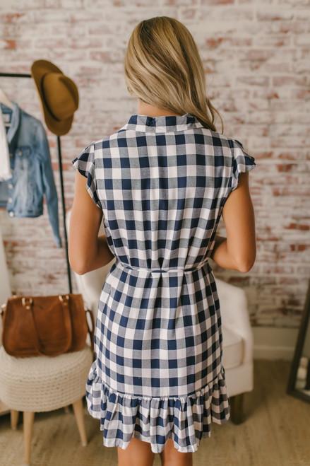 BB Dakota Check Please Shirt Dress - Navy/White - FINAL SALE