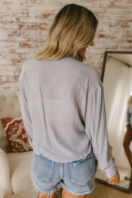 Roll Tab Crop Knot Boyfriend Top - Dove Grey - FINAL SALE