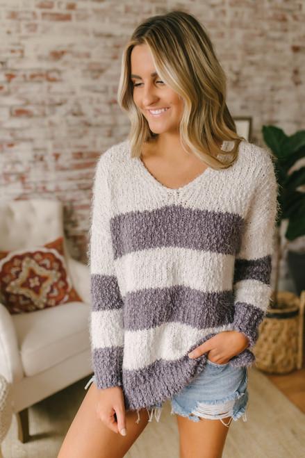 a23b27ea27c V-Neck Cozy Striped Sweater - Purple Grey Ivory