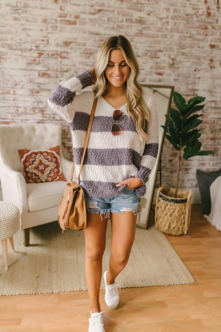 V-Neck Cozy Striped Sweater - Purple Grey/Ivory