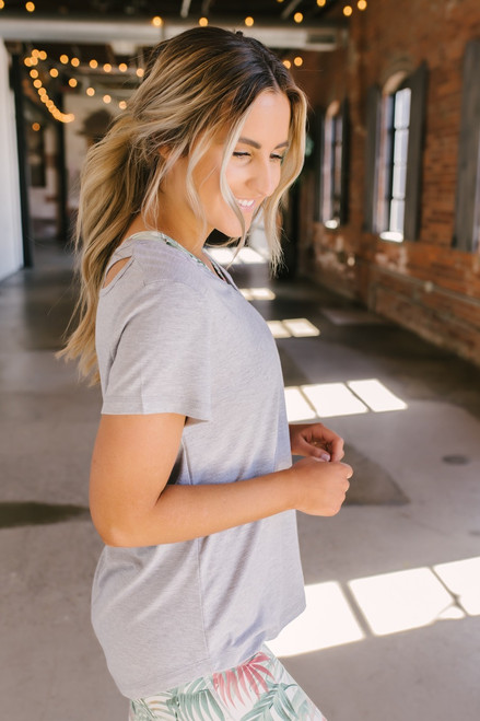 V-Neck Cross Back Cutout Tee - Heather Grey - FINAL SALE