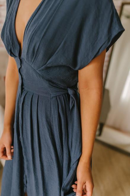 a069c7e7 Short Sleeve Button Down Empire Dress - Navy