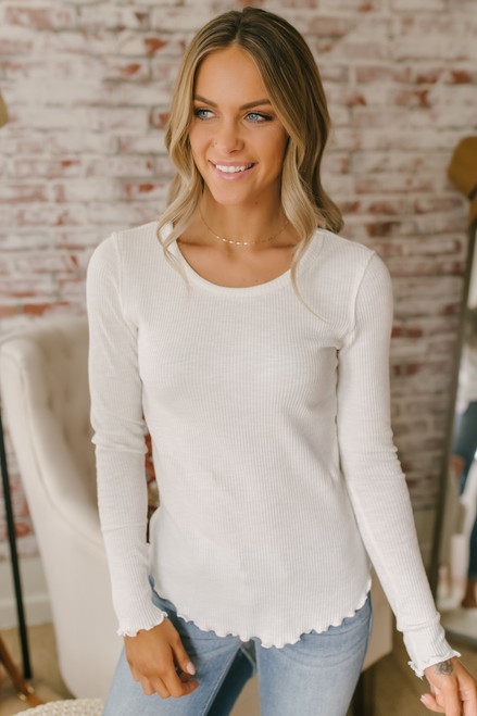 Long Sleeve Ribbed Knit Flare Hem Top - Ivory - FINAL SALE