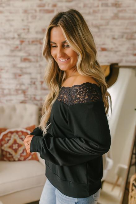 Lace Detail Boatneck Pullover - Black