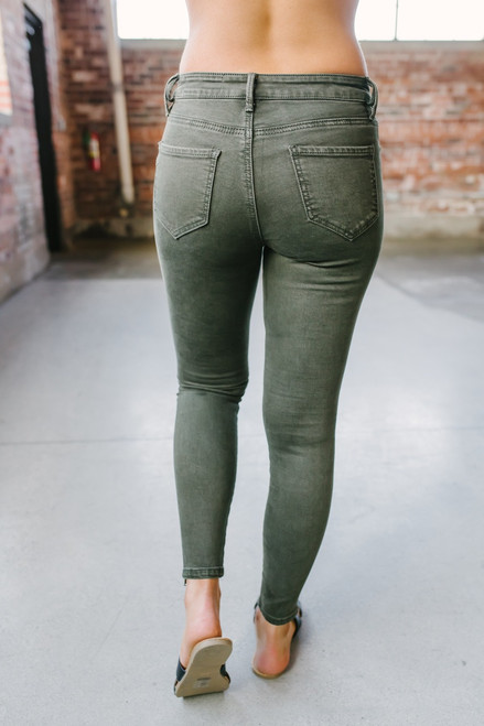 Verona Zipper Detail Moto Pants - Olive - FINAL SALE