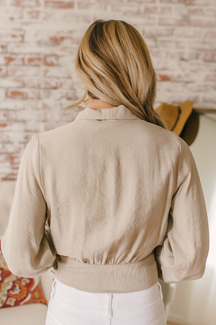Corner Office Wrap Top - Taupe - FINAL SALE