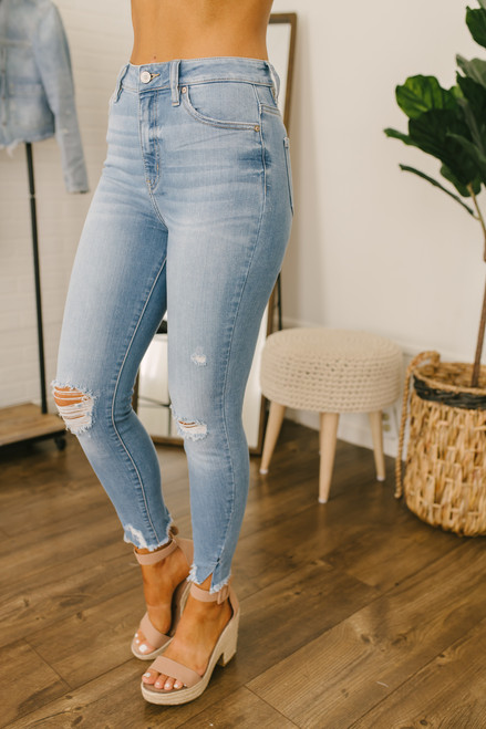 High Waist Distressed Skinny Jeans - Light Wash - FINAL SALE