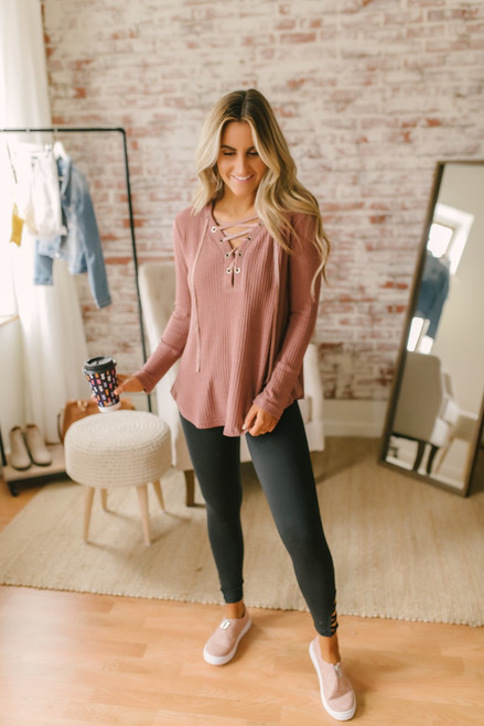 Lace Up Waffle Knit Pullover - Dusty Mauve - FINAL SALE