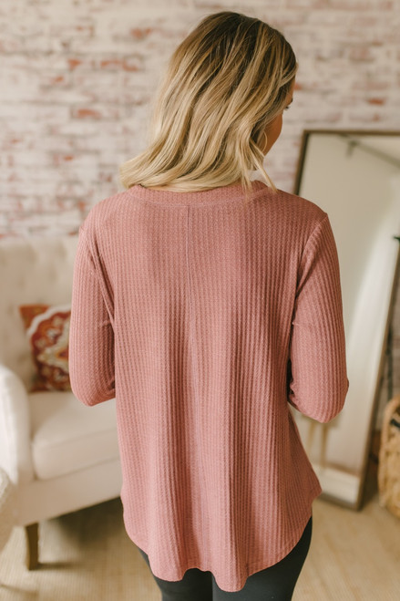 Lace Up Waffle Knit Pullover - Dusty Mauve