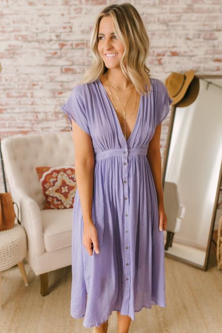 Short Sleeve Button Down Midi Dress - Tahitian Lilac