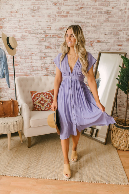 Short Sleeve Button Down Midi Dress - Tahitian Lilac