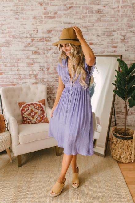 Short Sleeve Button Down Midi Dress - Tahitian Lilac Short Sleeve Button Down Midi Dress - Tahitian Lilac