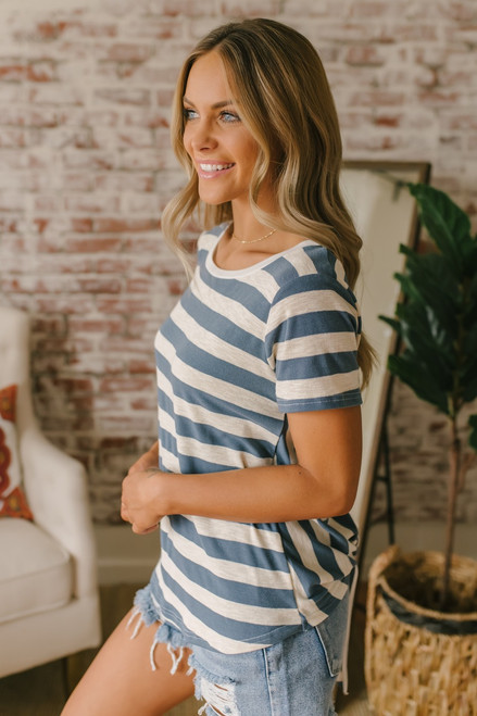 Contrast Striped Knot Back Tee - Blue/Oatmeal