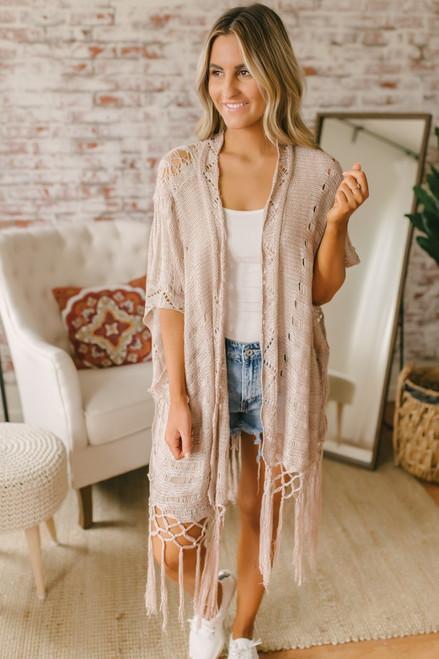 Short Sleeve Crochet Fringe Cardigan - Taupe