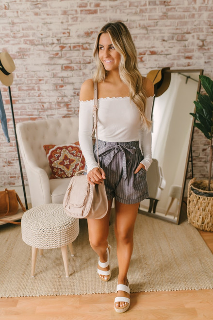 Tie Waist Striped Shorts - Faded Black/White