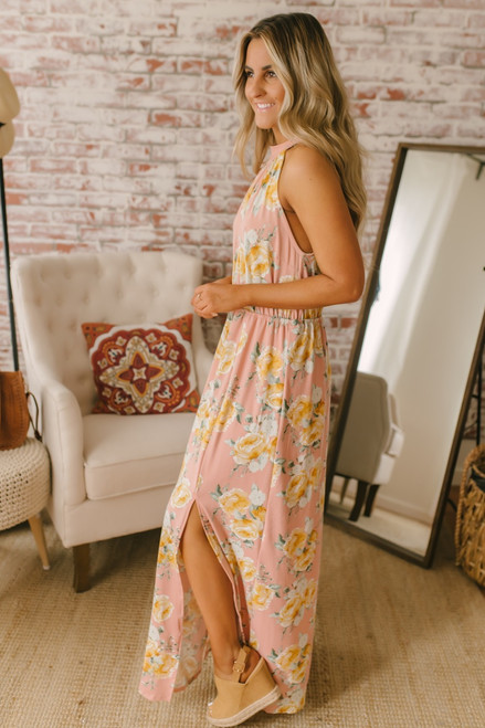 Kona Gardens Halter Maxi - Blush Multi - FINAL SALE