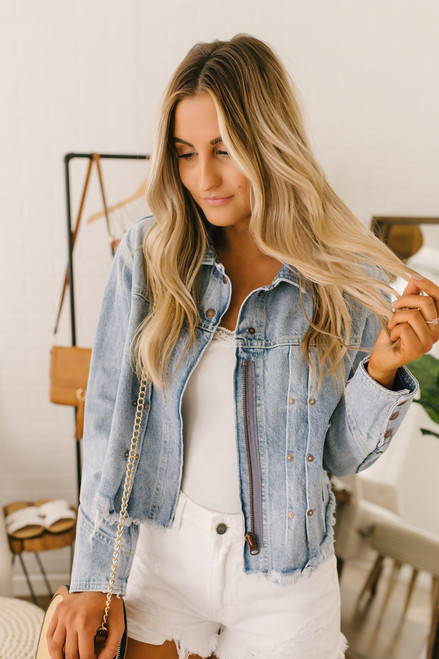 Free People Dillon Denim Jacket - Jasmine Wash