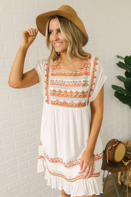 Free People Sunrise Wanderer Mini Dress - Ivory - FINAL SALE