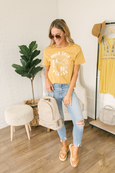 Road Trip Please Tee - Mustard/White
