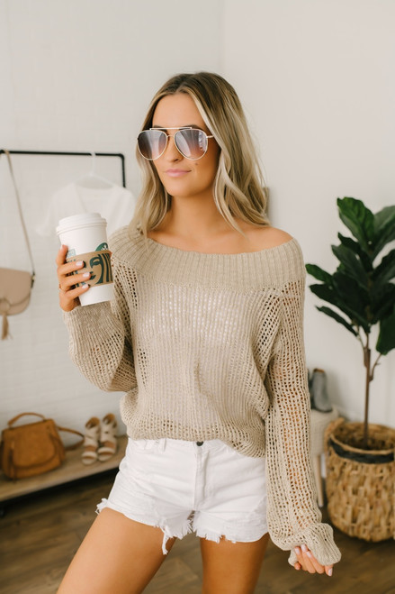 Lightweight Open Knit Boatneck Sweater - Taupe - FINAL SALE