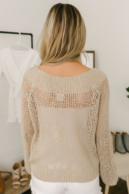 Lightweight Open Knit Boatneck Sweater - Taupe