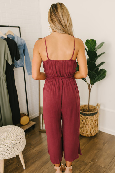 Ruched Cutout Crop Crepe Jumpsuit - Burgundy  - FINAL SALE