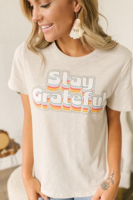 Stay Grateful Rainbow Tee - Clay Multi - FINAL SALE