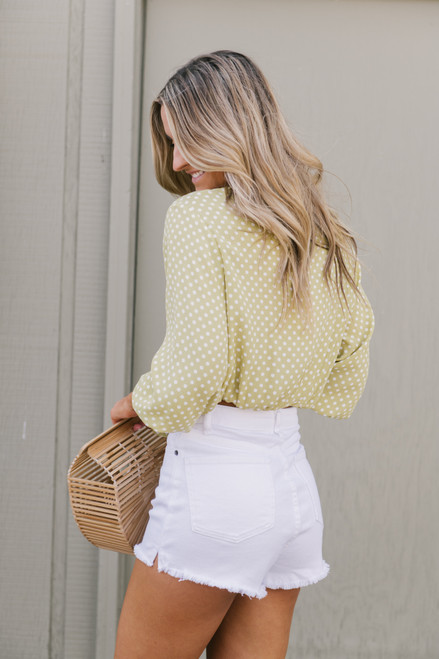 Clasp Front Polka Dot Knot Top - Lime/White