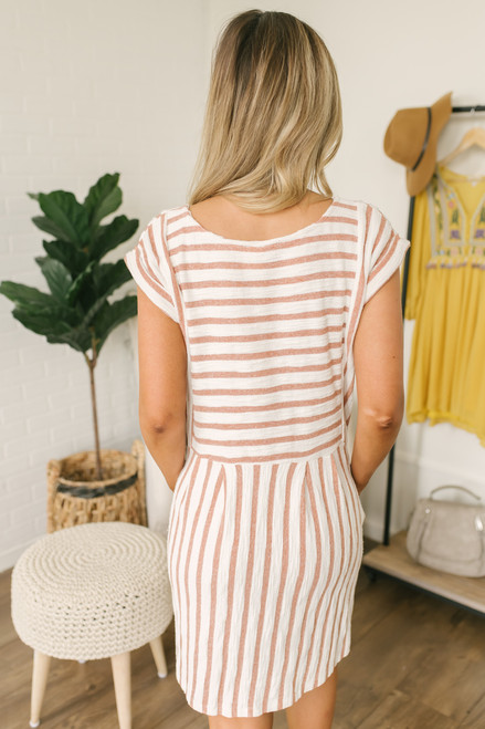 French Terry Striped Babydoll Dress - Ivory/Camel