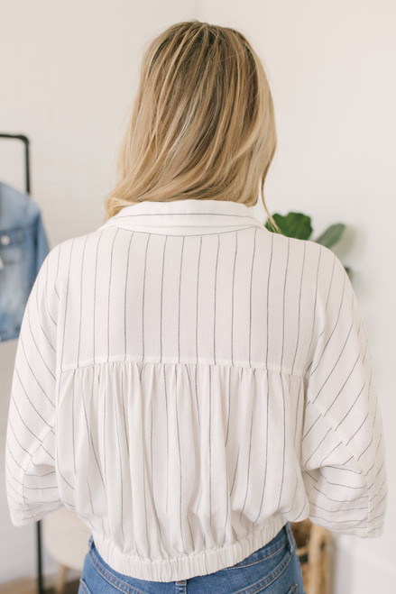 Button Down Striped Knot Crop Top - Ivory/Black