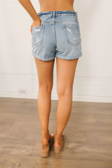 Distressed Boyfriend Shorts - Medium Wash