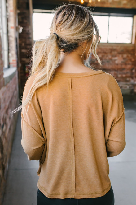 V-Neck Seam Detail Soft Pullover - Camel  - FINAL SALE
