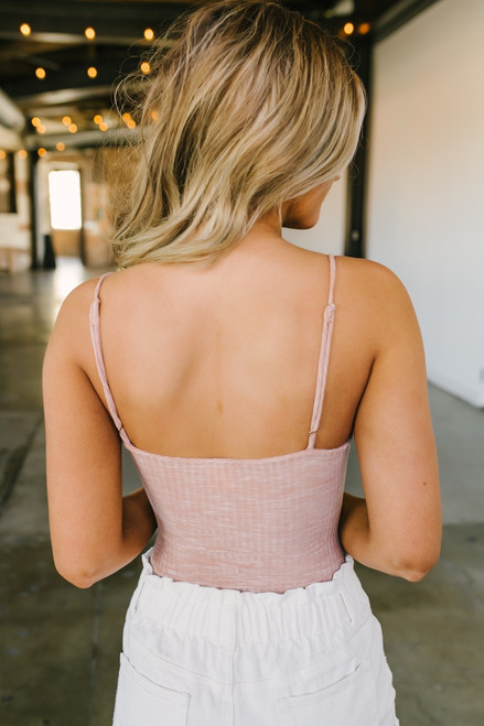 Cutout Ribbed Knit Knot Bodysuit - Heather Mauve