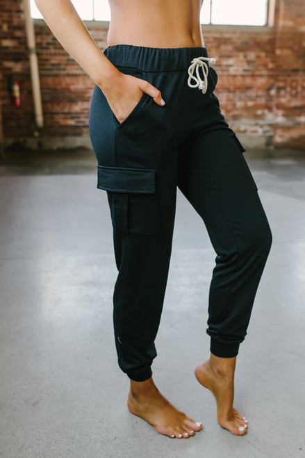 French Terry Drawstring Cargo Joggers - Black - FINAL SALE