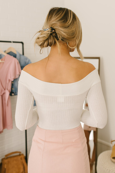 Off the Shoulder Waffle Knit Bodysuit - Ivory