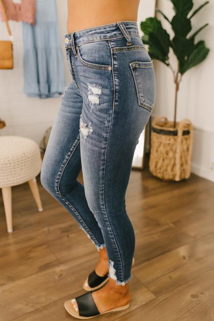 Beach Breeze Distressed Skinny Jeans - Dark Wash