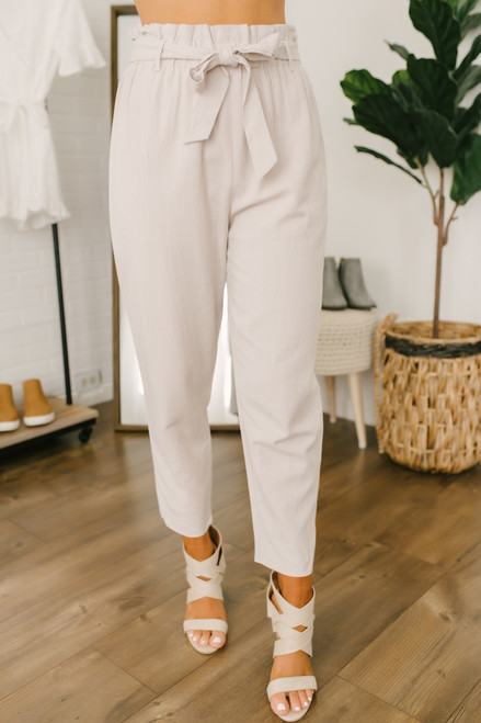 Everly Paperbag Linen Pants - Natural