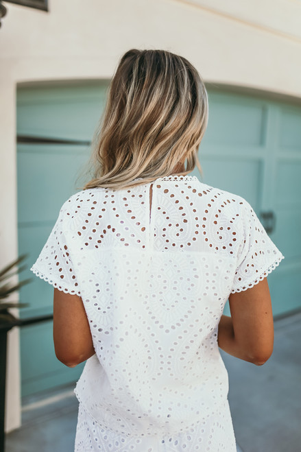 Everly Short Sleeve Eyelet Top - White
